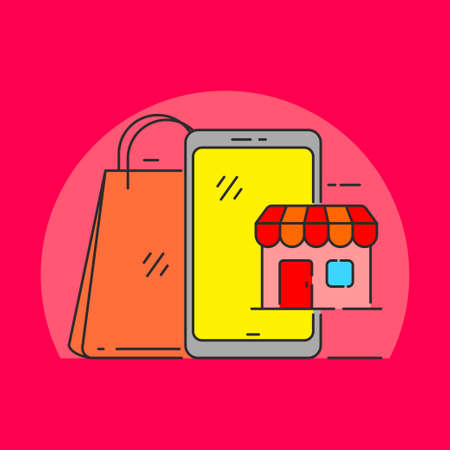 Smartphone with store and shopping bag vector illustration suitable for online shopping concept. Linear color style of online shopping icon Illusztráció