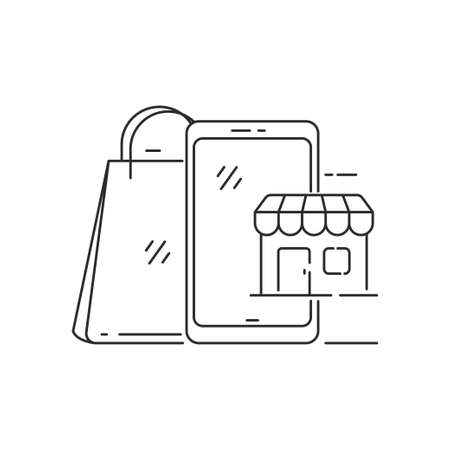 Smartphone, store and shopping bag vector illustration in line style suitable for online shopping concept. Linear style of online shopping icon