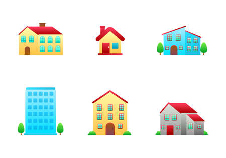 Set of house vector illustration isolated on white background. House gradient style icon collection