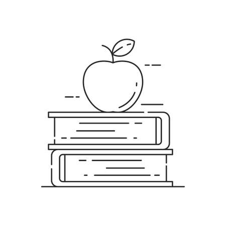 Apple on stack of book vector illustration suitable for education or knowledge concept. Linear style of knowledge or education icon