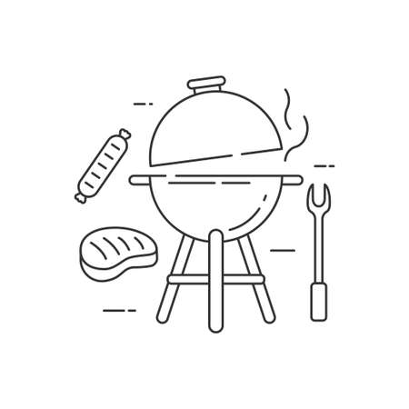 Barbecue grill vector illustration in line art style isolated on white background. Linear style barbecue icon