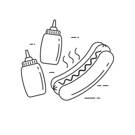 Hot dog vector illustration in line art style isolated on white background. Linear style hot dog icon Illusztráció