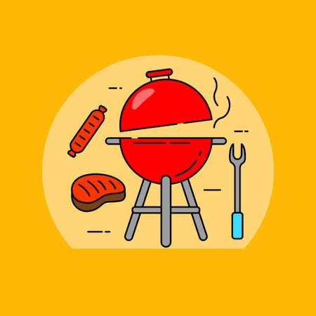 Barbecue grill concept vector illustration with steak and sausage. Linear color barbecue icon