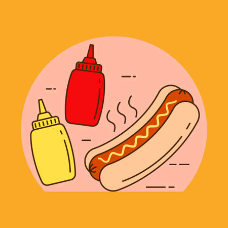 Hot dog concept vector illustration with mustard sauce bottle. Linear color style of hot dog icon