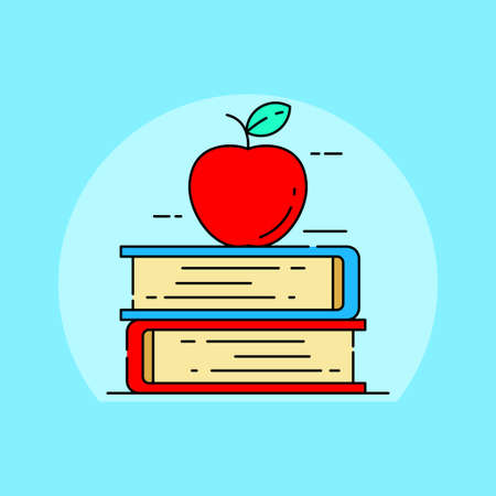 Apple on stack of book vector illustration suitable for education or knowledge concept. Linear color style of knowledge icon