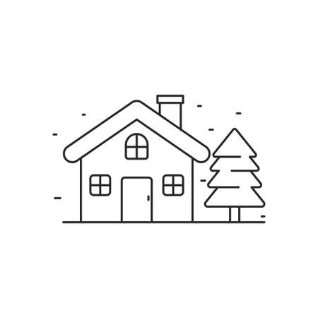 Simple house with tree line art vector illustration isolated on white background. House line icon