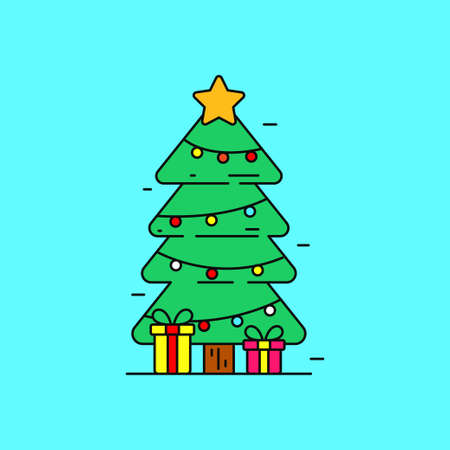 Simple Christmas tree concept vector illustration with cute design on blue background. Christmas tree linear color icon on Stock fotó - 158978758