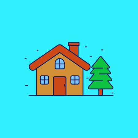 House with pine tree vector illustration on blue background. House linear color style icon