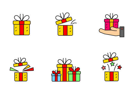 Set of simple gift box vector illustration isolated on white background. Linear color gift box icon collection Stock fotó - 158886137