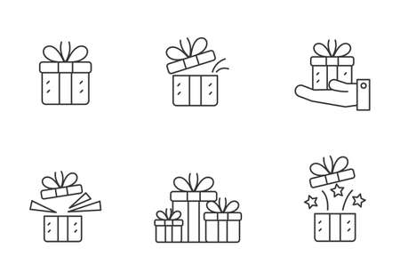 Set of gift box icon in linear style isolated on white background Stock fotó - 158907403