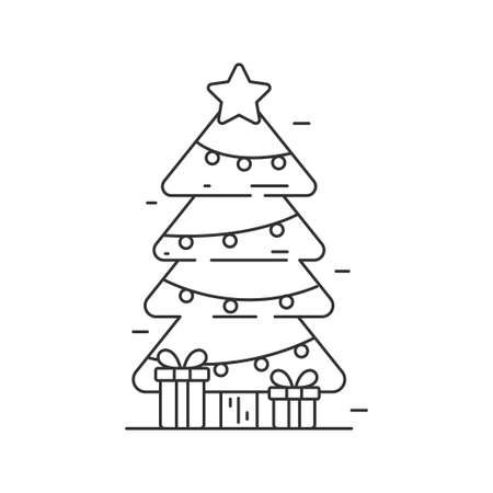 Christmas tree vector illustration in line art style isolated on white background. Line style Christmas tree icon Illusztráció