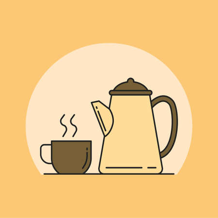 Simple cup of coffee and kettle vector illustration. Coffee linear color style icon