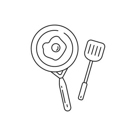 Frying pan with spatula line art vector illustration isolated on white background. Frying pan line icon Stock fotó - 158907404