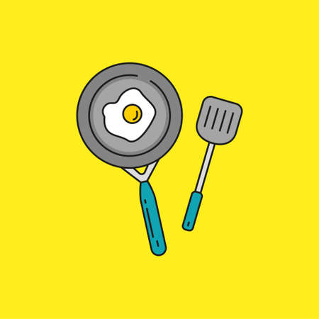 Simple and cute frying pan with spatula and egg vector illustration on yellow background. Frying pan linear color style icon Illusztráció