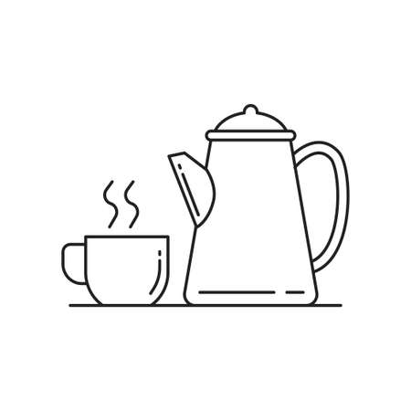 Cup of coffee and kettle line art vector illustration isolated on white background. Coffee linear icon