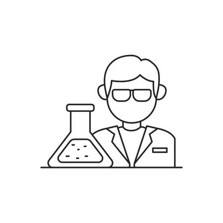 Scientist concept vector illustration in simple line art style isolated on white background. Scientist linear icon