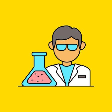 Simple scientist vector illustration on yellow background. Linear color style of scientist icon
