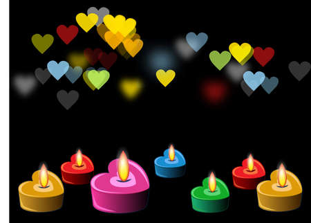 heart candles in the night Vector