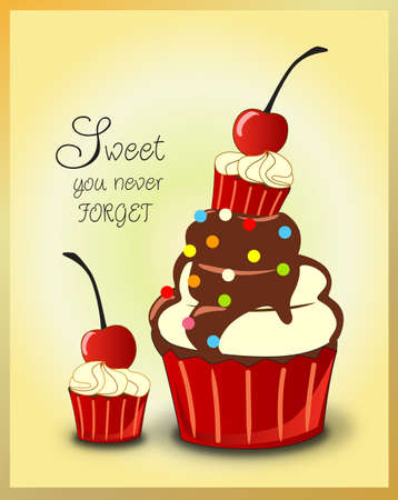 yummy chocolate cherry cupcakes Vector