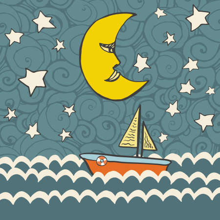 Cute fairytale illustration with dark ocean with waves, boat, moon, stars and abstract Vector