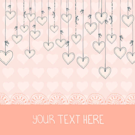 Hand drawn hanging hearts. Perfect romantic card template. Vector file organized in groups for easy editing.  Vector