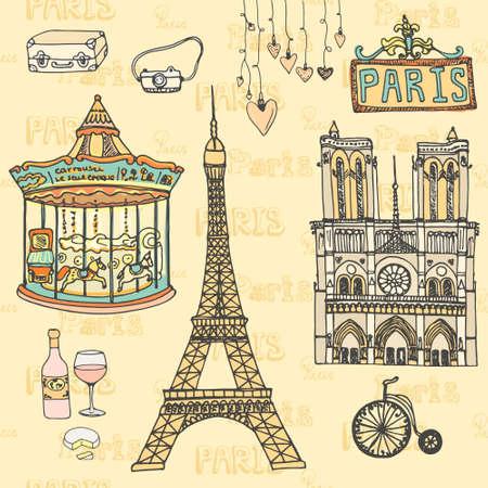 Touring: Zestaw symboli Paryża wykonane w wektorze. Wieża Eiffla, Moulin Rouge, Notre Dame de Paris, wino, ser. Ilustracja