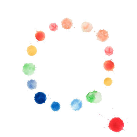 water color: Abstract water color circle handpaint on white background. Vector watercolor composition for scrapbook.