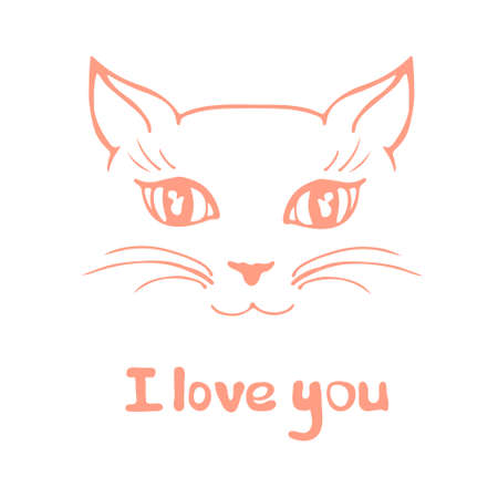 Pretty kitten drawn in vector. Elegant I love you card illustrationg with cat and letterin. Vector