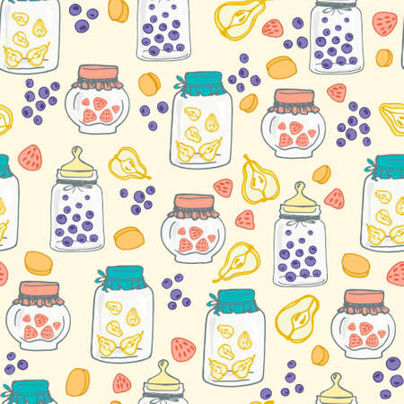 confiture: Delicious seamless pattern with home made jam jars. Cute dessert illustration with fruits and berries.