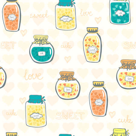 Cute seamless pattern with glass jars filled with hearts and hand written text. Perfect background for wedding invitation or save the date card. Vector