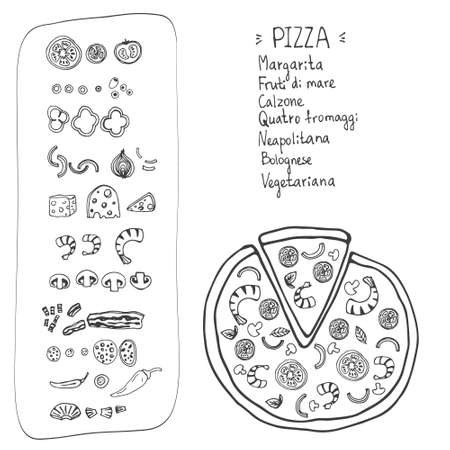 pizza ingredients: Perfect illustration of tasty pizza. Italian pizza ingredients including tomatos, pepper, cheese, bacon, shrimps, onion, mushroom. Pizza menu illustration.