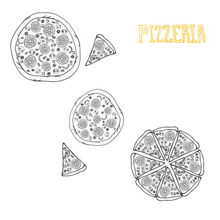 Perfect illustration of tasty pizza. Italian pizza ingredients including tomatos, pepper, cheese, bacon, shrimps, onion, mushroom. Pizza menu illustration. Vector
