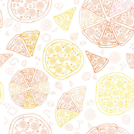 Perfect seamless pattern with of tasty pizza. Italian pizza ingredients including tomatos, pepper, cheese, bacon, shrimps, onion, mushroom. Pizza menu illustration. Vector