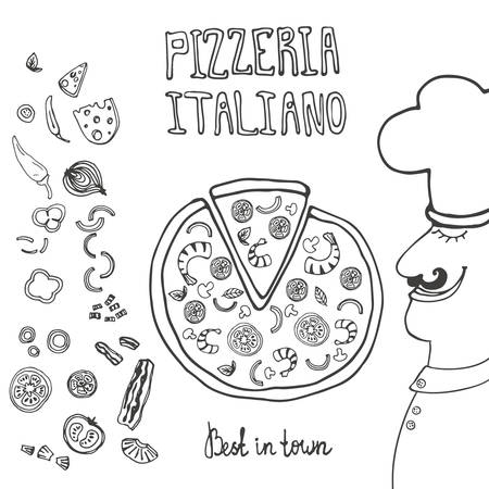 Perfect illustration for pizzeria with italian chief and tasty pizza. Italian pizza ingredients including tomatos, pepper, cheese, bacon, shrimps, onion, mushroom. Pizza menu illustration. Vector