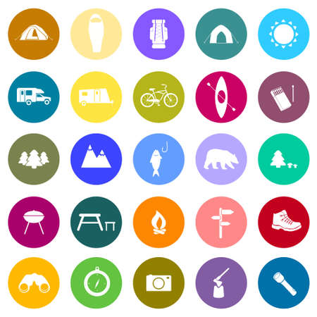 simbols: Set of camping icons. Outdoor activity simbols drawn in detailes in vector. Tent, trailer, camper, sleeping bag, fire, grill, mountain, forest, bear, fish - all you need to illustrate outdoor activity in symbols and signs.
