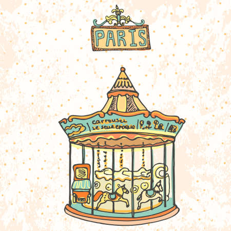 Beautiful carrousel with horses in Paris on vintage background.  Illustration