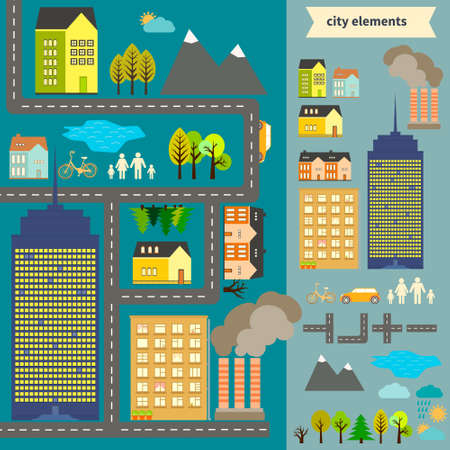 City elements for creating your own map. Easy to edit and recolor - vector object are separeted in groups. Create your own map or use sample map for your design. Stock Vector - 25312920