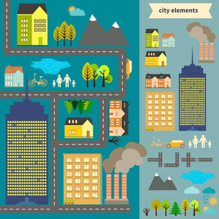 elementos: Elementos de la ciudad para la creaci�n de su propio mapa. F�cil de editar y cambiar el color - objeto vectoriales camas c en grupos. Crea tu propio mapa o el uso mapa de ejemplo para su dise�o.