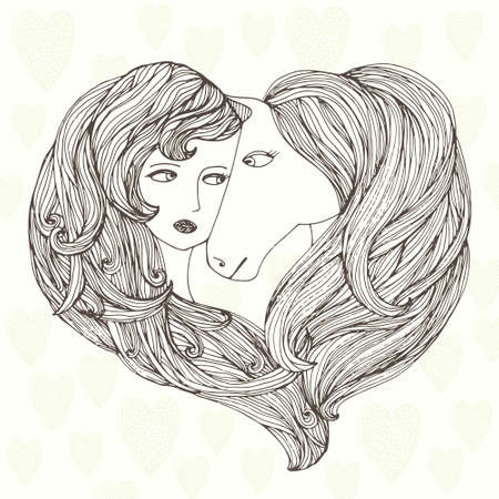 Beautiful art illustration of girl and horse. Lovely animal and women friendship drawing.  Vector