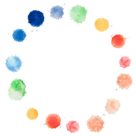 water color: Abstract water color circle handpaint on white background. Vector watercolor composition for scrapbook. Artistic illustration for your design.