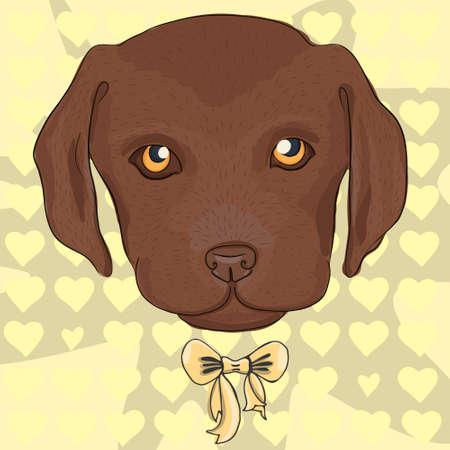 blind dog: Cute puppy of a brown labrador. Vector dog illustration.  Illustration
