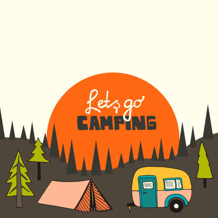 rv: Camping background with sun and forest Stock Photo