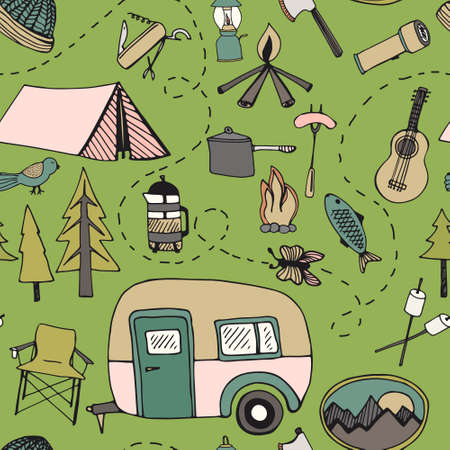 Cute hand drawn seamless pattern with camping gear  photo