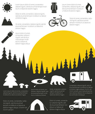 Camping and outdoor activity infographic with sample data   photo