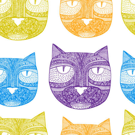 Tribal seamless pattern with hand drawn cats photo