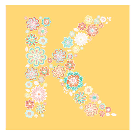 syllable: The letter K - perfect floral element of colorful alphabet made from hand drawn flowers.