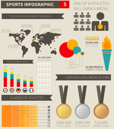 Sport infographic elements with sample numbers, flags, charts and objects.  photo