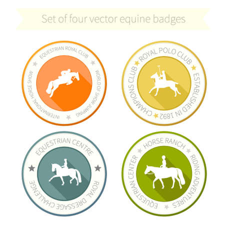 show jumping: Set of four perfect equine badges