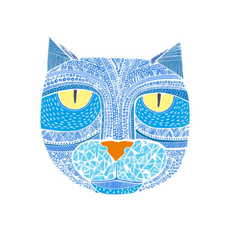animal heads: Hand drawn graphic  of a cat. Unique art illustration for your design.   Stock Photo