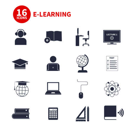 Set of detailed icons about e-learning. Illustration of digital education in modern and clean flat style. Big collection of education icons, including school subjects, e-learning concept, student communication. Perfect design for web site or an app. Vector